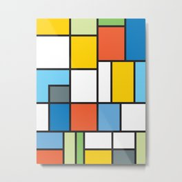 The Colors of / Mondrian Series - Simpsons Metal Print