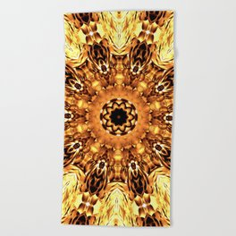 Yellow Brown Mandala Abstract Flower Beach Towel