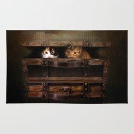 Little cute kitten in an old wooden case Rug