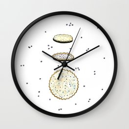 Blueberry Meringue Pie (recipe illustration) Wall Clock