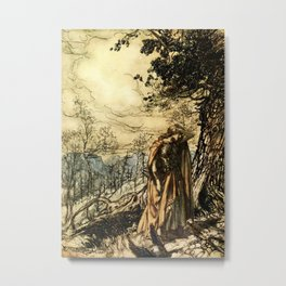 """""""Brunhilde Dazed and Alarmed"""" by Arthur Rackham Metal Print"""