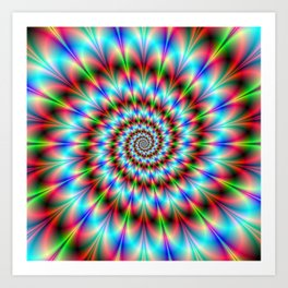 Spiral Rosette in Blue Green and Red Art Print