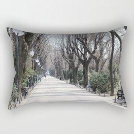 Photos Romania Bucharest Avenue park Bench Pavement Street lights Trees Cities Allee Parks Rectangular Pillow
