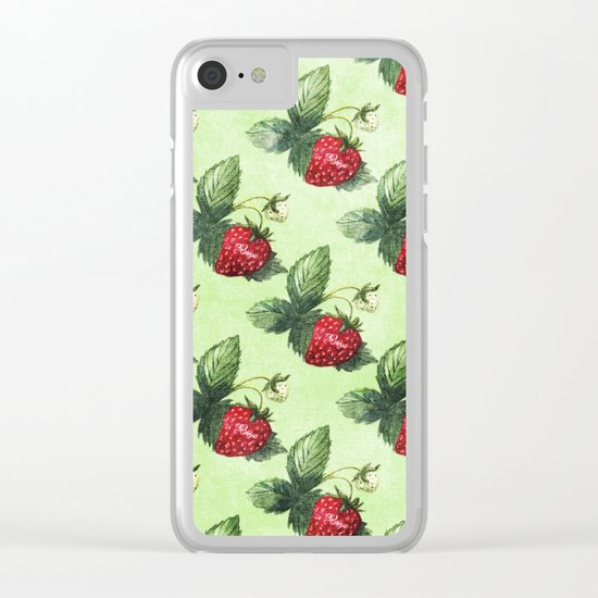 Strawberry Pattern- Strawberries fruits Clear iPhone Case