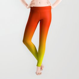 Neon Yellow and Neon Orange Ombré  Shade Color Fade Leggings