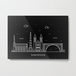 Luxembourg City Minimal Nightscape / Skyline Drawing Metal Print