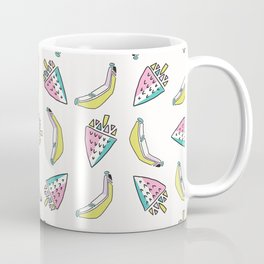 Fun Memphis Strawberry Banana Pattern, Seamless Vector Background Illustration Coffee Mug