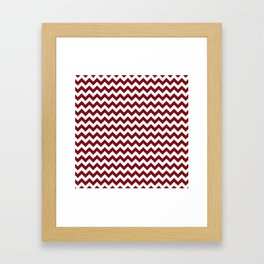 Burgundy white modern geometrical chevron pattern Framed Art Print