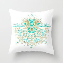 Sacred Lotus Mandala – Turquoise & Gold Palette Throw Pillow