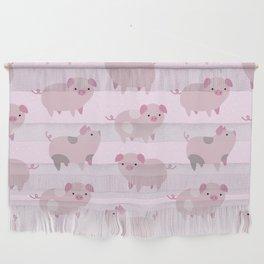 Cute Pink Piglets Pattern Wall Hanging
