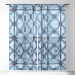 Shibori Paper Blues Sheer Curtain