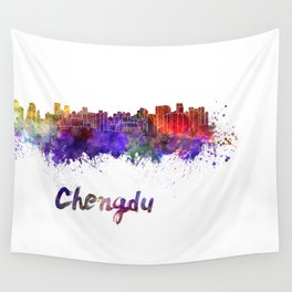 Lagos skyline in watercolor Wall Tapestry