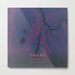Thane, India - Neon Metal Print
