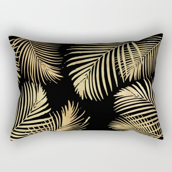Gold Palm Leaves on Black Rectangular Pillow