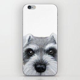 Schnauzer Grey&white, Dog illustration original painting print iPhone Skin