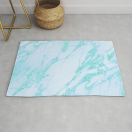 Teal Marble - Shimmery Glittery Turquoise Blue Sea Green Marble Metallic Rug