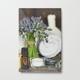 Fresh  lavender flowers, zen stones, essential oil, candle and towel over wooden surface Metal Print