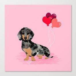 Dachshund love heart balloons valentines day pet portrait doxie lover Canvas Print