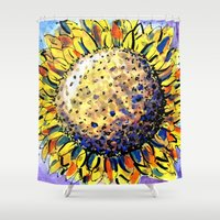 sunflower Shower Curtains featuring Sunflower by Claudia McBain