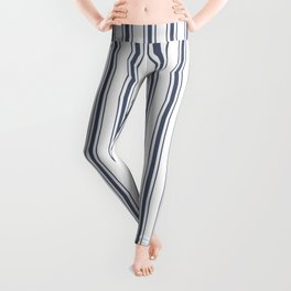Dark Sargasso Blue Mattress Ticking Wide Striped Pattern - Fall Fashion 2018 Leggings