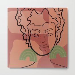 Ashley line art in mauve pink and green Metal Print