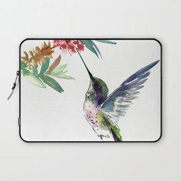 Hummingbird. elegant bird and flowers, minimalist bird art beautiful bird painting Laptop Sleeve