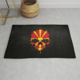 Flag of Macedonia on a Chaotic Splatter Skull Rug