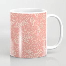 Abstract Garden Floral Farmhouse Pattern in Bright Coral and Beige Coffee Mug