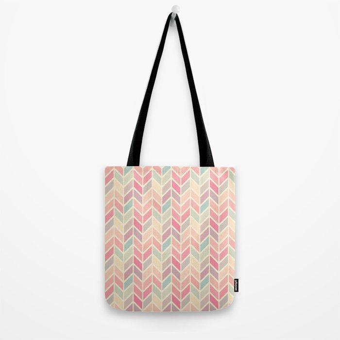Pastel Chevron Geometric Pattern Tote Bag