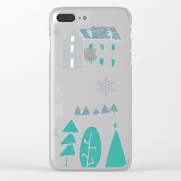 winter holiday houses Clear iPhone Case