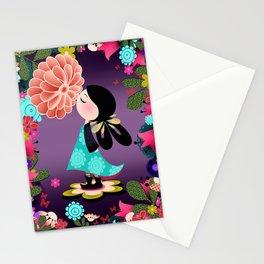 Cute Girl in Japanese Flower Garden Stationery Cards