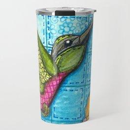 Hummingbird Quilt Square Travel Mug
