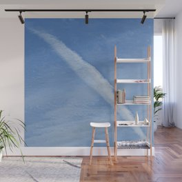 A line in the Sky. blue, white, sky, clouds, space, decor, art,  Society6.. Wall Mural