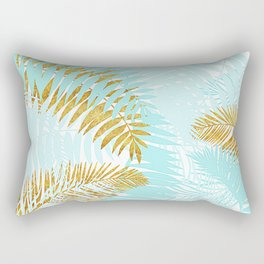 Aloha- Tropical Palm Leaves and Gold Metal Foil Leaf Garden Rectangular Pillow