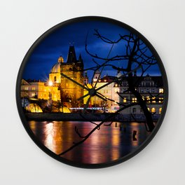 View of Prague from Kampa Island by night Wall Clock