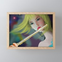 Girl Playing Flute 2 Framed Mini Art Print