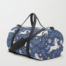 Floral Ponies (Dark Blue) Duffle Bag