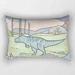 Tyrannsaurus Rex and Volcano Rectangular Pillow