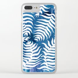 Caribean Blue Palms Clear iPhone Case