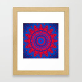 Vibrant Blue Red Mandala Framed Art Print