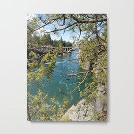Beautiful Old Bridge Over The Spokane River, Trees, Water, Bridge Metal Print