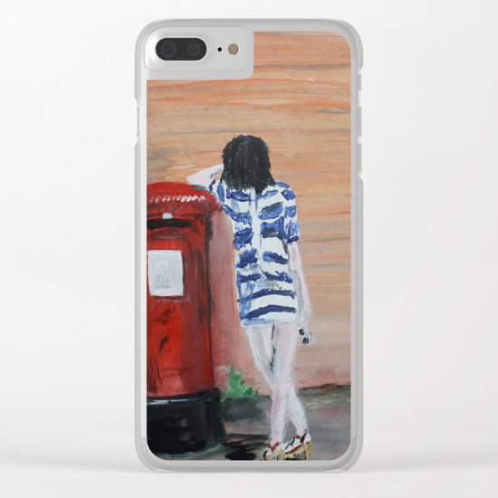 Blue And White Striped Dress Acrylic Fine Art Painting Clear iPhone Case