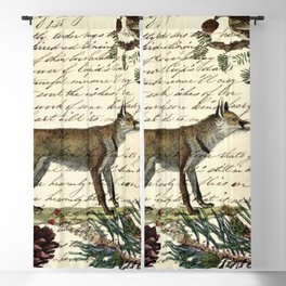 western country fairy rustic woodland nursery winter pine forest animal fox Blackout Curtain
