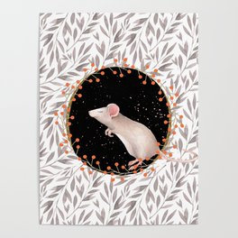 Beautiful nosey Mouse with flower background- Animal - mice - flowers Poster