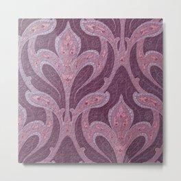 deep purple art nouveau pattern, chic,elegant,belle époque Metal Print