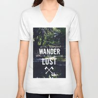 not all who wander V-neck T-shirts featuring Not All Those Who Wander by Adventures of Xavier