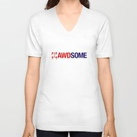 audi V-neck T-shirts featuring AWDSOME v2 HQvector by Vehicle