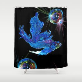 Siamese fighting fish & shiny bubbles Shower Curtain