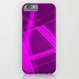 Mirrored edges with diagonal lines of intersecting glowing bright energy waves. iPhone Case