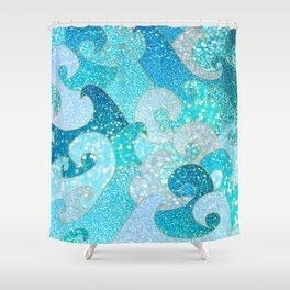 Mermaid Waves And Sea Faux Glitter - Sun Light Over The Ocean Shower Curtain